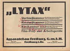 FREIBURG, Werbung 1928, Apparatebau GmbH LYTAX Startmesskammer Kinokammer