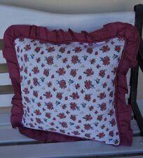 Kissenbezug 40*40 rote Rosen+ blau gemustert beidseitig Dekokissen Clayre&Eef