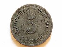 1901-A Germany Five Pfennig Coin