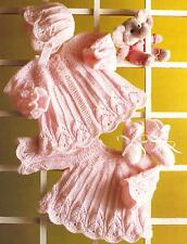 """Baby Knitting Pattern Dress Coat Bootees and Bonnet 14""""-20"""" DK Premature  104"""