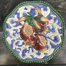 Fitz & Floyd Classics Florentine Pomegranate Textured Majolica Style Plate 9�