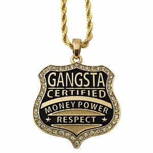 "14K Gold GP Gangster Gangsta Money Power Respect Pendant Rope Chain Necklace 30"""