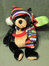 "Gund DUNHAM Black Bear 12"" Ski Snowboard Plush with Cap and Scarf  NWT #38580"