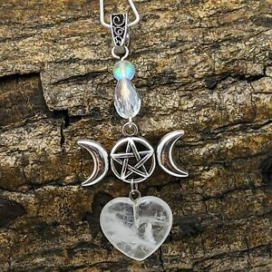 Handmade Silver Tone Wicca Triple Moon Heart Pendant White Quartz Heart Necklace