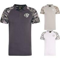 Crosshatch Mens Camo Polo T-Shirt Collared Army Shirt Short Sleeve Casual Top
