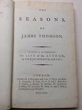 18th Century Book. The Seasons By James Thomson and his Life. 1793 Poetry Poem.