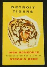 1960 Detroit Tigers Baseball Pocket Schedule Stroh's Beer Sponsor