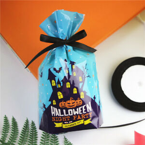 20X Halloween Storage Bag Candy Gift Plastic Party Container Baking Packing DIY