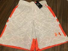 NWT Mens 2XL Under Armour Cross Court Gray/White/Orange BASKETBALL Shorts XXL