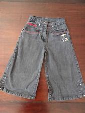 Pantacourt Jeans noir used brodé fillette LILI VARICELLE Taille 12 ans