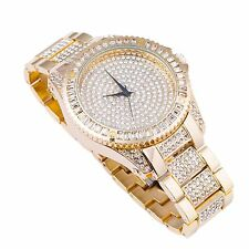 Men's Gold Plated simulated diamond hip hop rapper Watch & Bracelet set XL bling