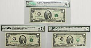 (3) $2 2003A FRN Richmond FR# 1938-E PMG 67 Superb Gem UNC EPQ, EA Block, Consec