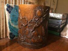 Exceptionnel pot à pinceaux bois sculpté motifs de canards, nymphéas et roseaux