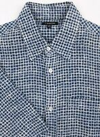 J. PETERMAN Men's Medium Blue Polka Dot Linen Short Sleeve Button Front Shirt