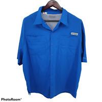 Columbia PFG Omni-Shade Vented Short Sleeve Fishing Blue Men's Shirt XL