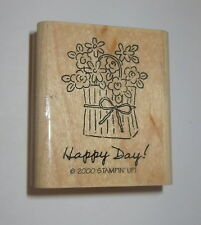 Happy Day Rubber Stamp Flower Basket Bag Flowers Stampin' Up! Retired Wood Mtd