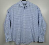 Polo Ralph Lauren Long Sleeve Oxford Shirt Plaid Mens Sz 2XL XXL White Blue EUC