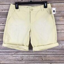 Gap Womens Shorts 100% Cotton Boyfriend Roll Up Khaki Yellow Faded Size 00