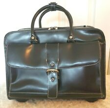 Franklin Covey XL Black Faux Leather Business Case Carry On Travel Bag Wheeled