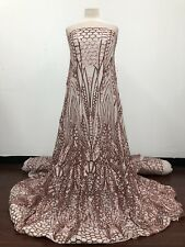 SEQUINED FABRIC by the YARD! NUDE STRETCH MESH with BLUSH SEQUINS