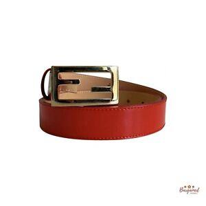 Authentic FENDI Red Patent Leather FF Baguette Buckle Belt 70/28 - 8C0130