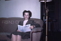 Kodak Slide 1940s Red Border Kodachrome Woman Sitting on the Couch Reading