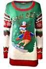 Women's Skiing REINDEER Holiday Party Ugly Christmas Xmas Sweater Sz M A920