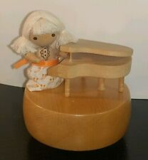 Otagiri Omc As Time Goes By Girl Piano Player Wooden Music Box Made In Japan