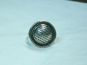 ...Sterling Silver Detailed Design Domed Top Ring...