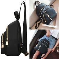 Black Women Girls Small Backpack Travel School  Nylon Handbag Shoulder Bag