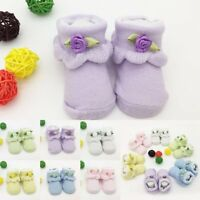 Newborn Infant Baby Boys Girls Anti-slip Cotton Flower Socks Slipper Shoes Boots
