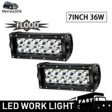 2X 7INCH 36W BUMPER LED WORK LIGHT BAR FOG LAMP SPOT BEAM OFFROAD UTE TRUCK 4WD