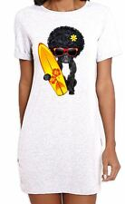 French Bulldog Surfer With Afro Hair Women's Short Sleeve T-Shirt Dress