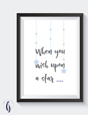 nursery blue A4 Print -  when you wish upon a star