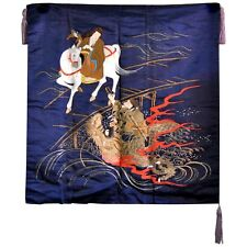 Antique Meiji Silk Tapestry with Dragon and Horse Embroidery 1910-1920