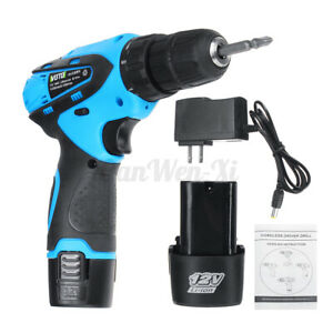 12V Electric Cordless Drill 2-Speed Repair Screwdriver Tool Rechargeable