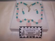 Santo Domingo Turquoise & Rose Quartz Necklace and earring set native american