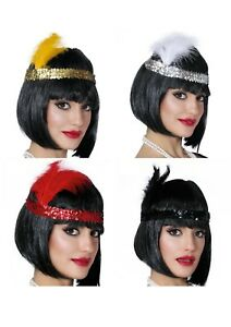 SEQUIN FEATHER HEADBAND 20s 1920s FANCY DRESS CHARLESTON BROW BAND FLAPPER
