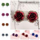 Korean Style Fashion Alloy Rhinestone Ear Studs Rose Shaped Earrings