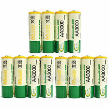 12 pcs AA 3000mAh Ni-Mh 1.2V rechargeable battery Cell for MP3 RC BTY US Stock