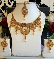 New Lct Gold Indian Necklace Earrings Costume Jewellery Set Stones Bridal Party