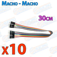 10 Cables 30cm Macho Macho jumper dupont 2,54 arduino protoboar cable jumpers