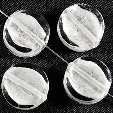 Lot de 4 perles en verre Feuille d'Argent Palets 15mm Blanc