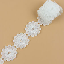 2 Yards off White Fabric Flower Venise Lace Trim Applique Sewing Crafts