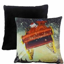 "CHRISTMAS SANTA PRESENTS SLEIGH REINDEER SOFT VELVET RED CUSHION COVER 17"""
