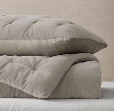Restoration Hardware Velvet & Linen Tufted Quilt-Dune, K/CalK Retail $529