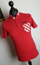Mens Gabicci Red Cotton Polo T Shirt With Check Pattern Collar & Pocket Small