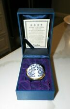 Halcyon Days Enamels Medici Ring Box Blue & White With Original Box For Neiman M