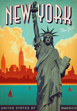 NEW YORK TRAVEL POSTER * Classic Retro LARGE A3 SiZE QUALITY CANVAS  PRINT