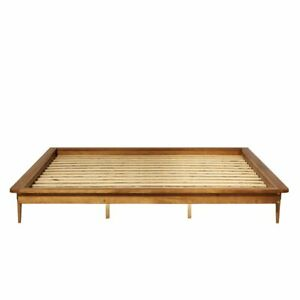 Henline Low Profile Bed King Size Bed Frame by Mercury Row W005991117 Caramel